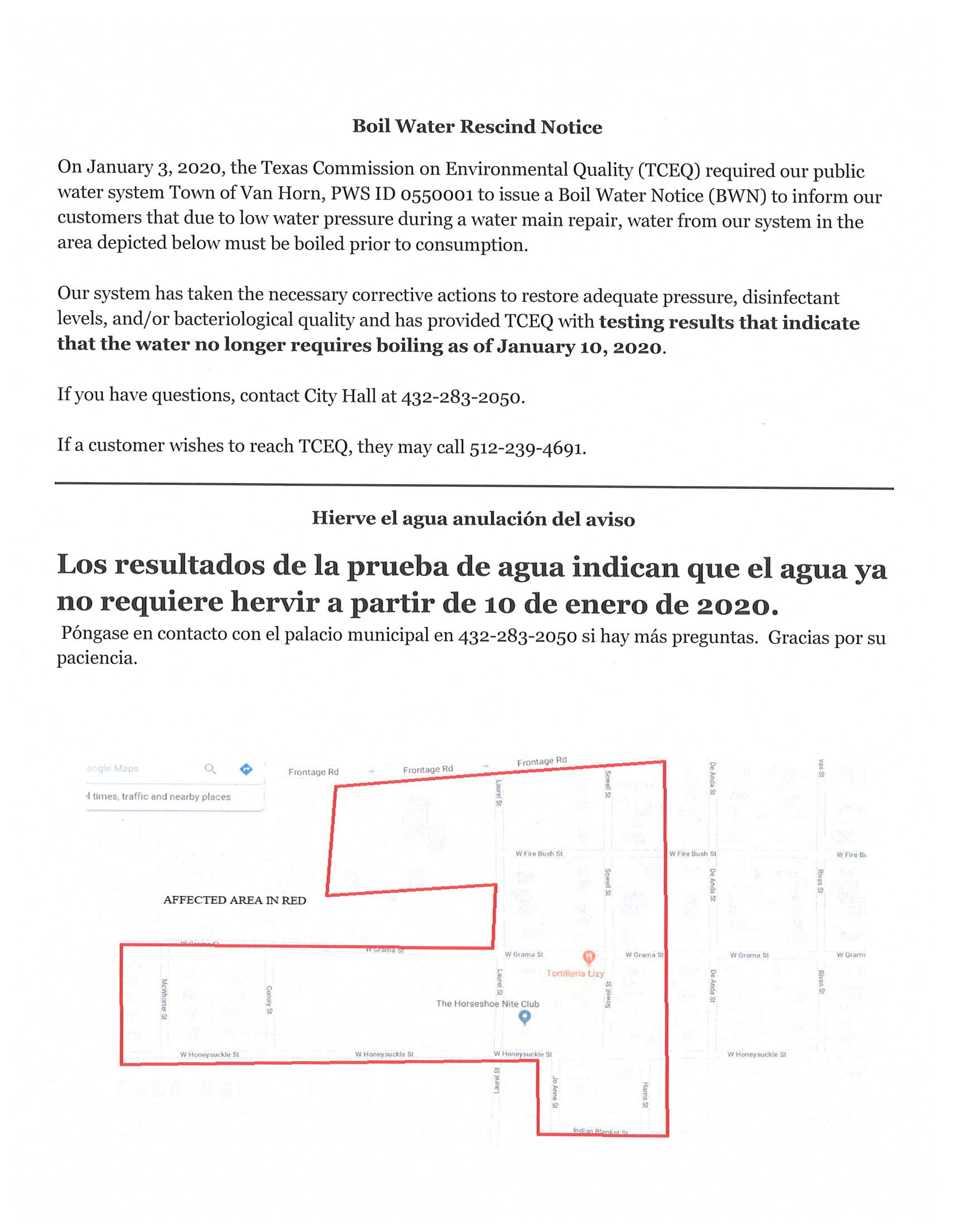 Boil Water Rescind Notice Jan 10, 2020